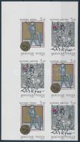 1990 Történelmi arcképcsarnok (III.) ívsarki vágott hatostömb / Mi 4083-4084 imperforate corner block of 6 (9.000)