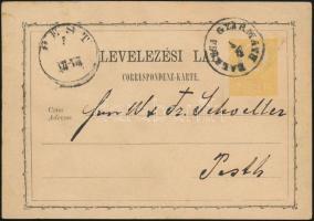 1872 2kr díjjegyes levelezőlap / PS-card BALASSA GYARMATH