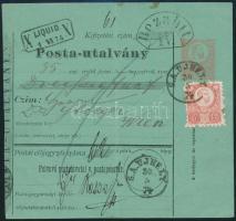 1874 Díjjegyes postautalvány 5kr kiegészítéssel / PS-money order with 5kr additional franking S.A.UJHELY
