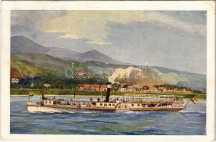 1923 Leányfalu oldalkerekes személyszállító gőzös Leányfalu nyaralótelepnél, gőzhajó, magyar zászló. Művészlevelezőlap M.F.T.R. 6314-22. Klösz György és fia / Hungarian passenger steamship (EK)