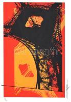 Hervé, Rodolf (1957-2000): Eiffel-torony. Szitanyomat, papír, jelzett, számozott (31/40), ca. 34,5x21 cm. / Hervé, Rodolf (1957-2000): Eiffel-tower. Screenprint on paper, signed, numbered (31/40), 34,5x21, cm.