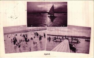 1934 Agárd (Gárdony), Velencei-tó, vitorlás, fürdőzők, móló (EK)