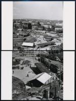 cca 1970 Budapest, Moszkva téri átépítések, 4 db régi felvételről mai nagyítások, 10x15 cm