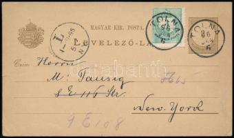 1896 2kr díjjegyes levelezőlap 3kr bélyeggel / PS-card with additional franking TOLNA - New York