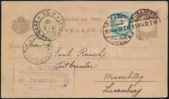 1893 2kr díjjegyes levelezőlap 3kr bélyeggel / PS-card with additional franking BUDAPEST - WASSERBILLIG (Luxemburg)