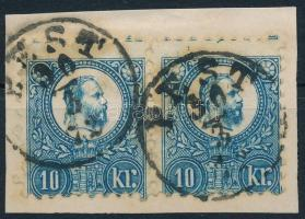 1871 Réznyomat 10kr képbe fogazott pár / pair with shifted perforation PEST