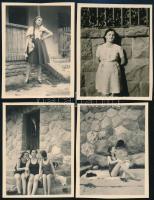 1947 Verőce, 4 db vintage fotó feliratozva, datálva (a Kinszki hagyatékból, de vélhetően Kinszki Imréné felvételei), 6×4,5 cm