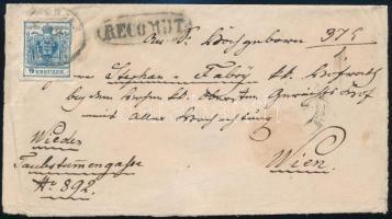 1858 8kr + 6kr ajánlott levélen / on registered cover EPERJES - Wien