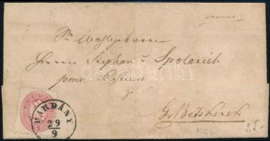 1864 5kr levélen / on cover PÁRDÁNY - Nagybecskerek (Gudlin 200 p)
