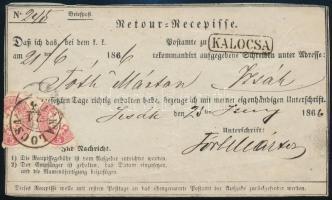1866 2 x 5kr (sérültek) feladóvevényen / damaged 2 x 5kr on Retour Recepisse KALOCSA - Izsák