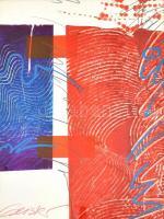 Geisler, Stephan (1968-): Kék-vörös kompozíció. Vegyes technika, papír, jelzett. Üvegezett fa keretben. 50×39,5 cm / Geisler, Stephan (1968-): Blue-red composition. Mixed technique on paper, signed. Framed with glass. 50×39,5 cm
