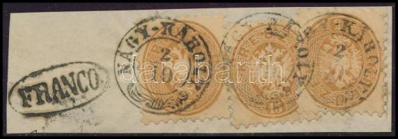 1864 3 x 15kr kivágáson / on cutting NAY-KÁROLY + FRANCO