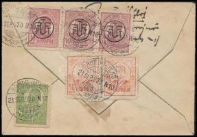 1920 Ajánlott levél Borosjenőről Lugosra 6 db bélyeggel bérmentesítve, cenzúrázva / Registered cover with 6 stamps franking from Borosjenő to Lugos, with censorship