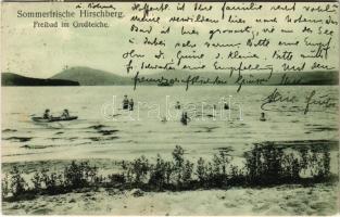 Doksy, Hirschberg (Böhmen); Sommerfrische, Freibad im Großteiche / beach, bathers, rowing boat, holiday resort. Kunstverlagsanstalt J. Hentschel