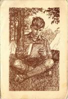 A tábori levél. Az 5. KEG (Katolikus Egyetemi Gimnázium) és a 160. MK. cserkészcsapat kiadása. M. kir. honvéd térképészeti intézet / Hungarian boy scout art postcard s: Nyíri György (EB)