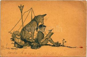 1931 Cserkész kutyával a táborban / Hungarian boy scout art postcard, scout with dog in the camp s: Márton L. + FISKALITÁSHUTA POSTAI ÜGYN. (EB)