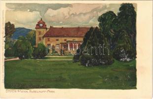 Baden bei Wien, Dobelhoff Park. Kuenstlerpostkarte No. 1760. von Ottmar Zieher litho s: Raoul Frank (Rb)