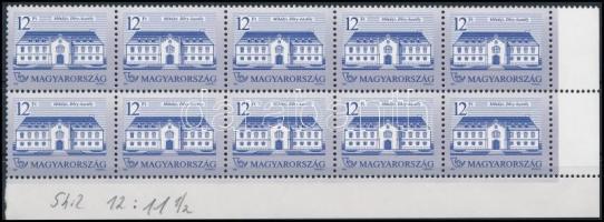 1991 Kastélyok (V.) 12Ft ívsarki 10-es tömb 12 : 11 1/2 fogazással, shil papíron (30.000) / Mi 4157 corner block of 10 on shil paper, perforation: 12 : 11 1/2