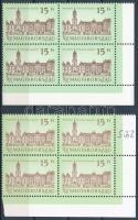 1992 Kastélyok (VI.) 15Ft 2 db ívsarki 4-es tömb az egyik shil papíron (21.200) / Mi 4194 2 corner block of 4, one of them on shil paper