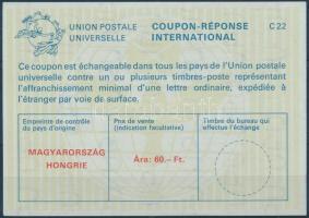 1988 Nemzetközi válaszdíjszelvény 60Ft / International reply coupon 60Ft
