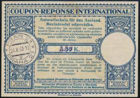 Böhmen und Mähren 1940 Nemzetközi válaszdíjszelvény kézírásos átértékeléssel / International reply coupon