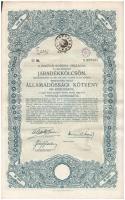 Budapest 1917. A magyar korona országai 6%-kal kamatozó Járadékkölcsön államadóssági kötvénye 100K-ról, szárazpecséttel és szelvényekkel (4x) sorszámkövetők T:II-,III egyiken anyaghiány
