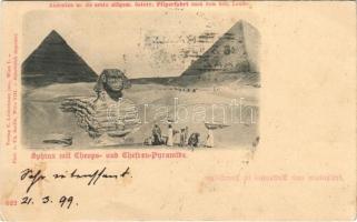 1899 (Vorläufer) Cairo, Caire; Sphinx mit Cheops und Chefren pyramide / Giza and Khafre pyramids. C. Ledermann, phot. v. Ch. Scolik