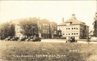 1932 Cambridge (Minn.) High school, automobiles. photo (EB)