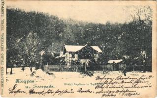 1900 Belgrade, Königl. Jagdhaus in Topschider / Topcider, hunting castle in winter (EK)