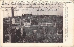 1906 San Francisco (California), Van Ness Avenue, down town ruins after the earthquake April 18 (EK)