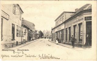 1903 Sakskobing, Saxkjöbing; Brostraede, Udstyr for Herrer / street, shop of Oluf D. Kofoed (EM)