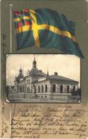 1904 Lindesberg, Tingshuset / court. Art Nouveau, Swedish flag, litho