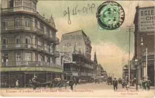 1911 Johannesburg, Corner of Joubert and Pritchard Streets, Stuttaford & Co., D.W. Sims, The Anglo Austrian Boot, shops. TCV card