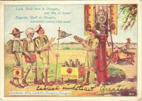 1933 Gödöllői Jamboree. Shell Kőolaj Részvénytársaság reklámlapja / Look, Shell here in Hungary, just like at home! Shell Mineral Oil Company petroleum advertisement with scouts (EK)