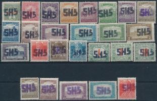 Perlak 1919 26 db klf bélyeg, közte 5 db lila felülnyomattal (nem hivatalos kiadás) (törések / folds)