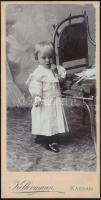 cca 1902 Kassa, Kellermann Fivérek fényképészeti műtermében készült, keményhátú vintage fotó, 16,2x8,2 cm