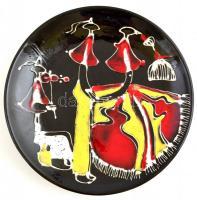 Festett, mázas iparművészetis tál, apró lepattanásokkal, d: 29 cm