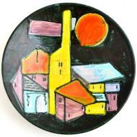 Festett, mázas iparművészetis tál, hibátlan, d: 28,5 cm