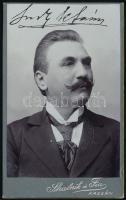 cca 1920 Kassa, Skalnik és Fia fényképész műtermében készült, keményhátú, vintage fotó, a képen vasúti hidegpecsét, 10,3x6,3 cm