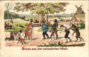 Gruss aus der verkehrten Welt / Greetings from the wrong world / Üdvözlet a feje tetejére állt világból. Humour litho (EK)