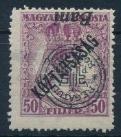 Nagyvárad 1919 Köztársaság 50f fordított felülnyomattal, garancia nélkül