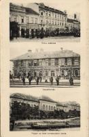 Nagybecskerek Bégapart with railway-station and Hotel Rózsa (gluemark)