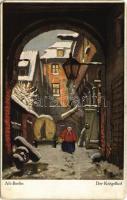 Berlin, Alt-Berlin, Der Krögelhof / winter street. Raphael Tuck & Sons Connoisseur Serie Alt-Berlin No. 1253. s: B. Bielefeld (EM)