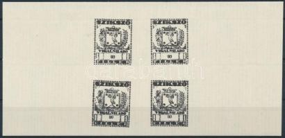 1945 Szikszó adóbélyeg 80f próbanyomat négyestömb