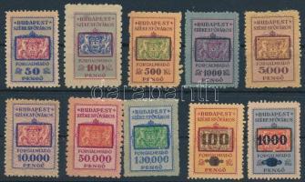 1922-1923 10 db klf Budapest Székesfőváros forgalmi adóbélyeg