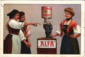 1909 Alfa Laval tejszeparátor reklámlapja / Modell 1908. Alfa Laval milk separator machine advertising card (EK)