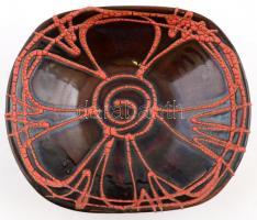 Pesthidegkúti festett mázas, kerámia tál, jelzett, hibátlan, 22,5x19x7 cm