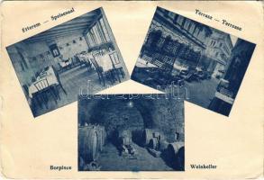 Budapest I. Tabáni Farkas Béla vendéglője a Régi söröskocsihoz, belső, terasz, étterem, borpince. Budai sikló mellett (EK)