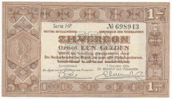 Hollandia 1938. 1G Zilverbonnen (Ezüstértékű bankjegyek) T:II Netherlands 1938. 1 Gulden Zilverbonnen (Silver notes) C:XF Krause 61
