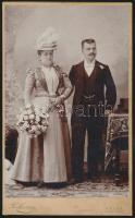 1899 Kassa, Podleszny András fényképész  műtermében készült, keményhátú vintage fotó, feliratozva, a karton két felső sarkán gombostű nyoma, 21,4x13,2 cm